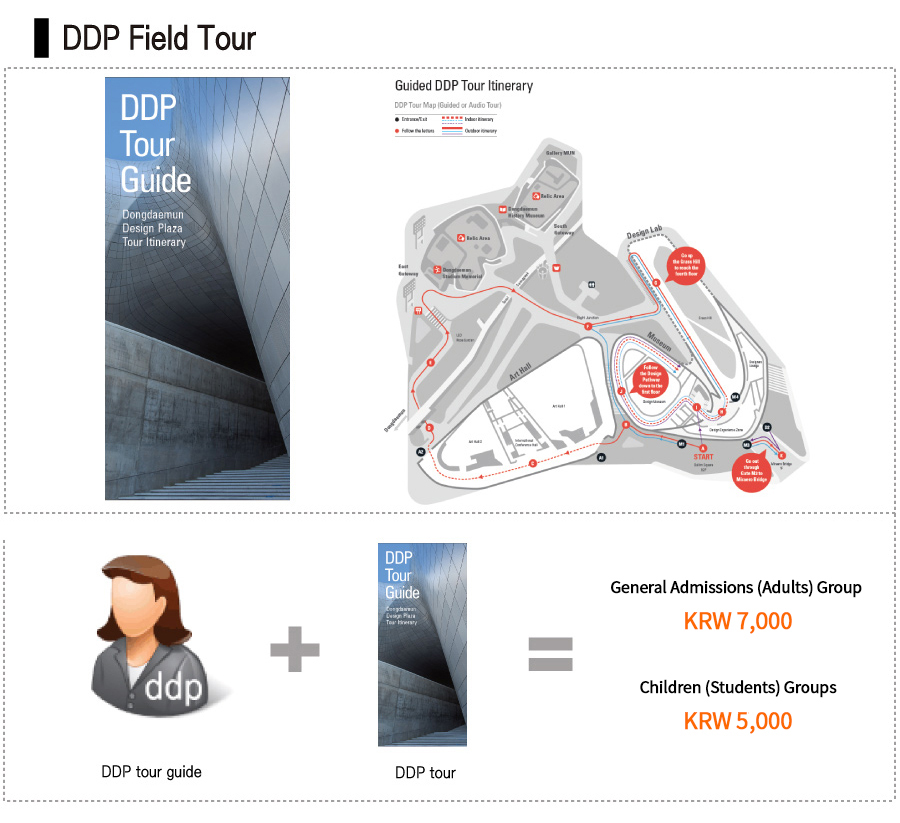 DDP+Tour+Guide+++DDP+Tour/+General+Admissions(Adults)Group-KRW+7,000/Children(Students)Groups-KRW5,000